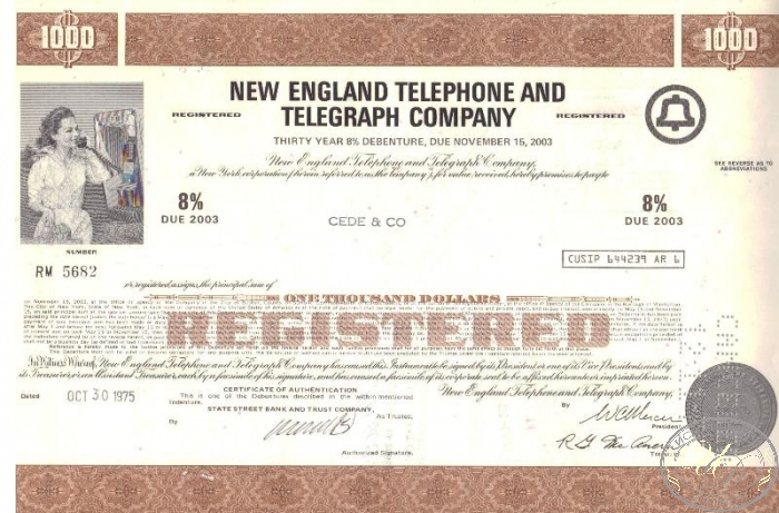 "New England Telephone and Telegraph Co.,сертификат на $1000, 1975 год. ― ООО ""Исторический Документ"""