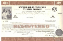 New England Telephone and Telegraph Co.,сертификат на $1000, 1975 год.