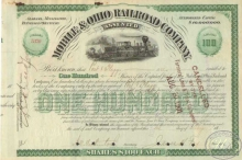 Mobile and Ohio Railroad Co. Сертификат на 100 акций. $10000, 1901 год