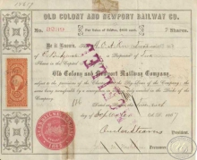 Old Colony and Newport Railway Co. Сертификат на 2 акции (Cancelled). $200,1867 год.