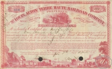 St.Louis,Alton and Terre  Haute Railroad Co. Сертификат на 100 акций. 10000$, 1865 год.