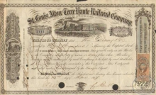 St.Louis,Alton and Terre  Haute Railroad Co. Сертификат на 100 акций. 10000$, 1867 год.