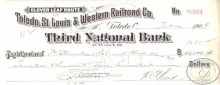 Toledo,St.Louis and Western Railroad Co. Pay to the Order, $13000, 1909 год.