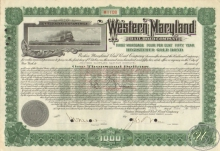 Western Maryland Railroad Co. $1000, 1928 год.