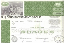 Builders Investment Group,сертификат на 100 акций.1972 год.