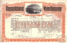 Consolidated Water Co., сертификат на 1922 год.