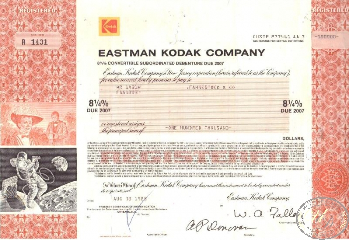 "Eastman Kodak Co., сертификат на $100000, 1983 год. ― ООО ""Исторический Документ"""