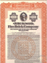Jackson Fire Brick Co.,сертификат на $100, 1922 год.