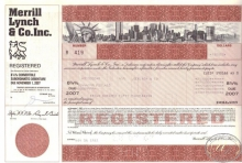 Merrill Lynch and Co.,сертификат на $250000, 1982 год.