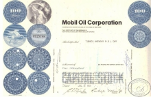 Mobil Oil Co.,сертификат на 100 акций, 1966 год.