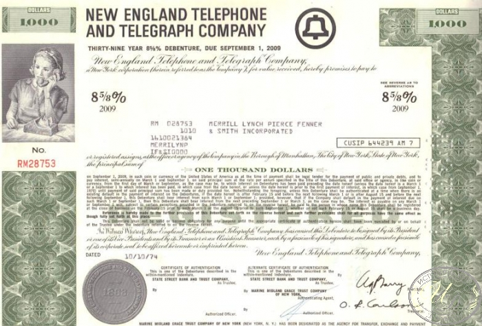 "New England Telephone and Telegraph Co.,сертификат на $1000, 1974 год. ― ООО ""Исторический Документ"""
