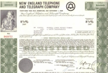 New England Telephone and Telegraph Co.,сертификат на $1000, 1974 год.
