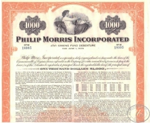 Philip Morris Inc.,сертификат на $1000, 1959 год.