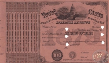 United States Internal Revenue (бланк), $100, 1879 год.