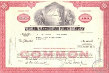 Virginia Electric and Power Co.,сертификат на 100 акций, 1970 год.