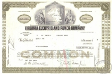Virginia Electric and Power Co.,сертификат на 200 акций, 1974 год.