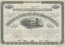 Atchinson and Nebraska Railroad Co.Cертификат на 25 акций. $2500, 1879 год.