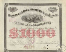 Boston Clinton and Fitchburg Railroad Co. Сертификат на $1000, 1873 год.