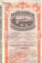 Brazil Railway Co. Акция в 500 франков, 1909 год.