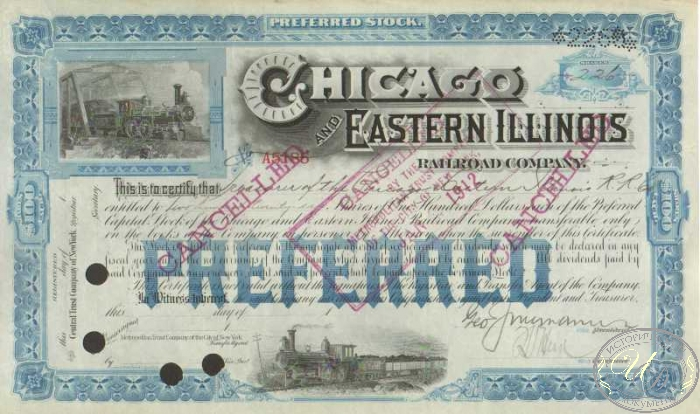 "Chicago and Eastern Illinois Railroad Co. Cancelled. $22600, 1912 год. ― ООО ""Исторический Документ"""