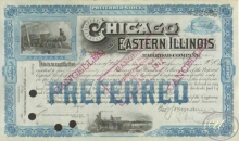 Chicago and Eastern Illinois Railroad Co. Cancelled. $22600, 1912 год.