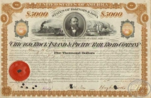 Chicago,Rock Island and Pasific Railroad. Co. $5000, 1877 год.