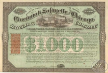 Cincinatti,Lafayette and Chicago Railroad, $1000, 1871 год.