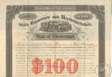 County of Harrison Gulf and Ship Railroad Co. $100, 1887 год.