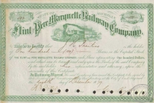 Flint and Pere Marquette Railway Co. Сертификат на 100 акций. $10000, 1879 год.