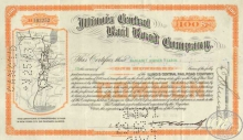 Illinois Central Railroad Co. Сертификат на 100  акций. $10000, 1936 год.