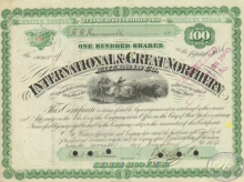 International and Great Northern Railroad Co. Сертификат на 100 акций. $10000, 1874 год.