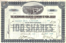 Lackawanna Railroad Co. of New Jersey. Сертификат на 100 акций, $10000, 1945 год.