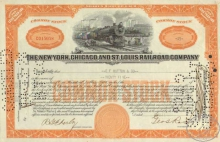 New York Chicago and St.Louis Railroad Co. $2500, 1928 год.