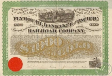 Plymouth,Kankakee and Pasific Railroad Co. $1000, 1871 год.