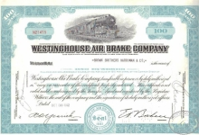 Westinghouse Air Brake Co. Сертификат на 100 акций, $1000, 1952 год.